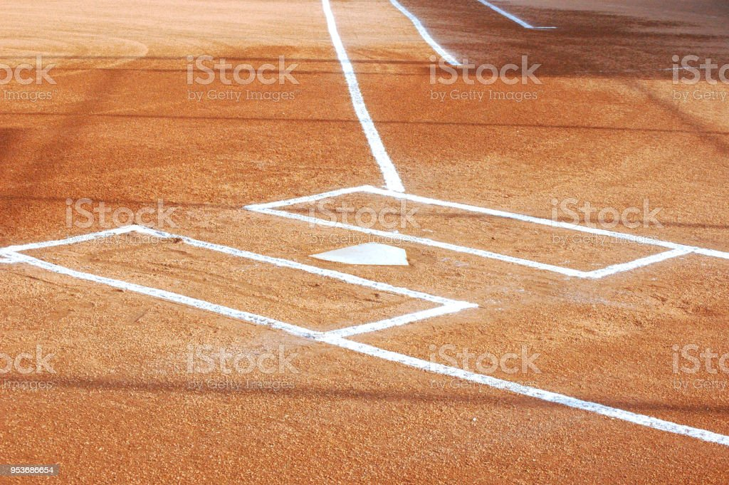 Softball Infield with Chalk Lines stock photo