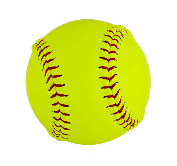 softball isolated on white background. - softball stock photos and pictures