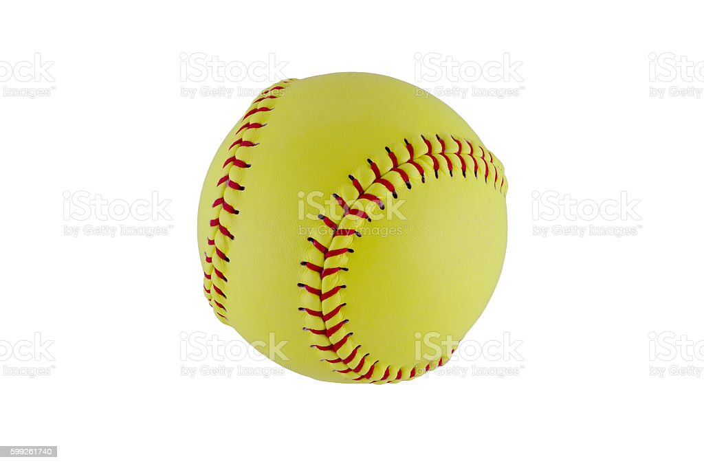 Softball on clear white background. stock photo