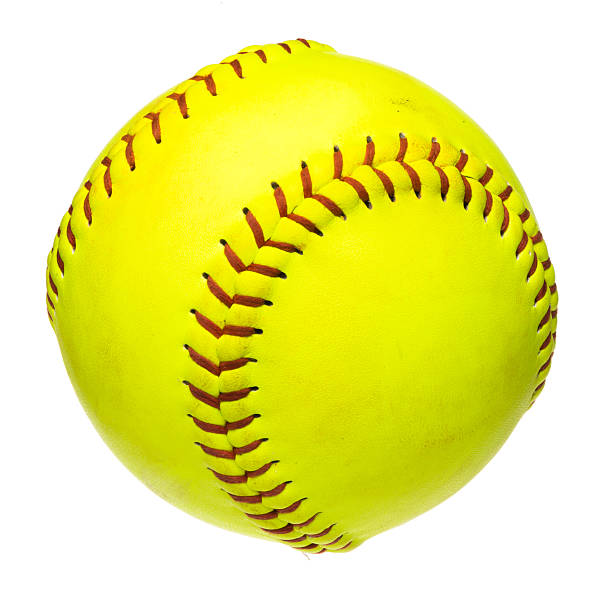 softball on white - softball stock photos and pictures