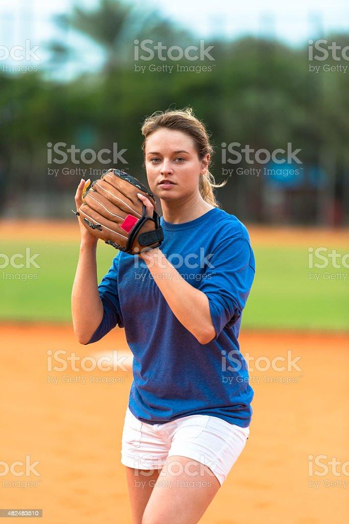 Softball Pitcher on Field stock photo