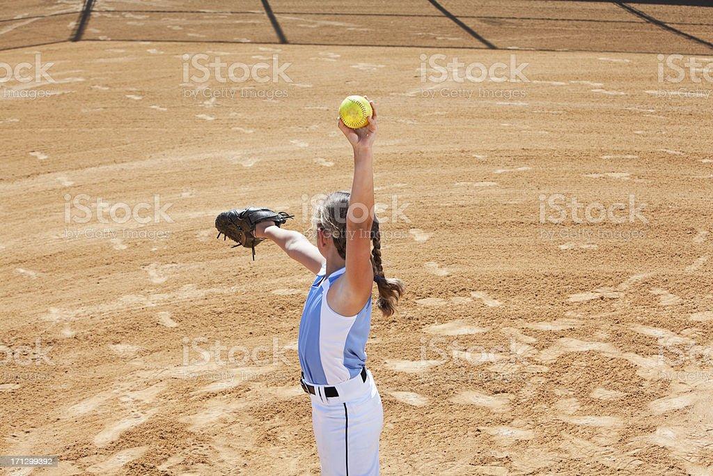 Softball pitcher stock photo