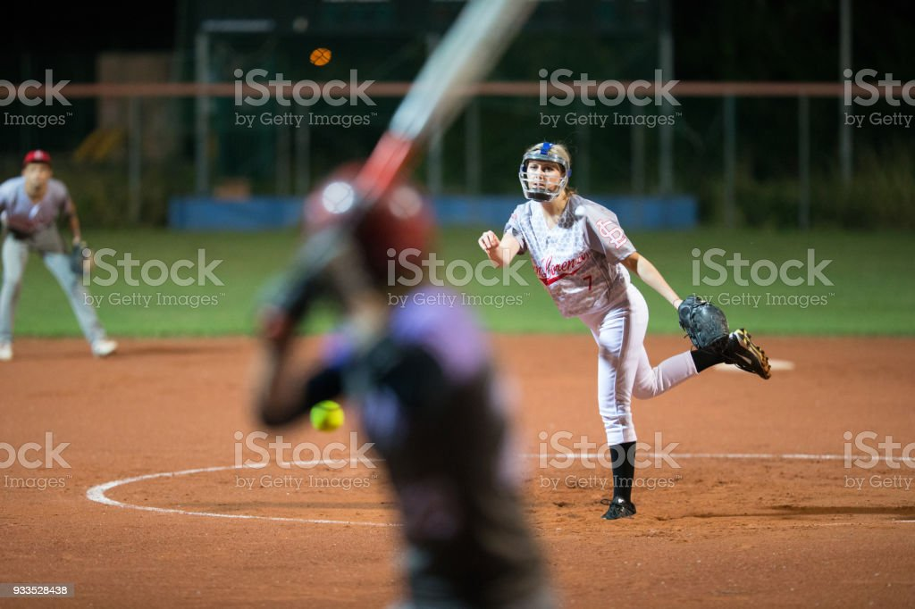 Softball Pitcher Throwing the Ball to Batter