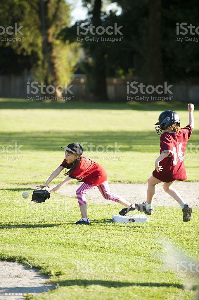 Softball Play royalty-free stock photo