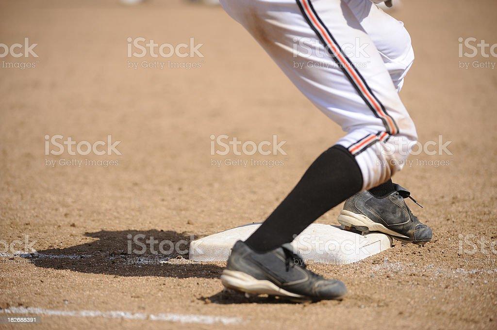 Softball Player at Base stock photo