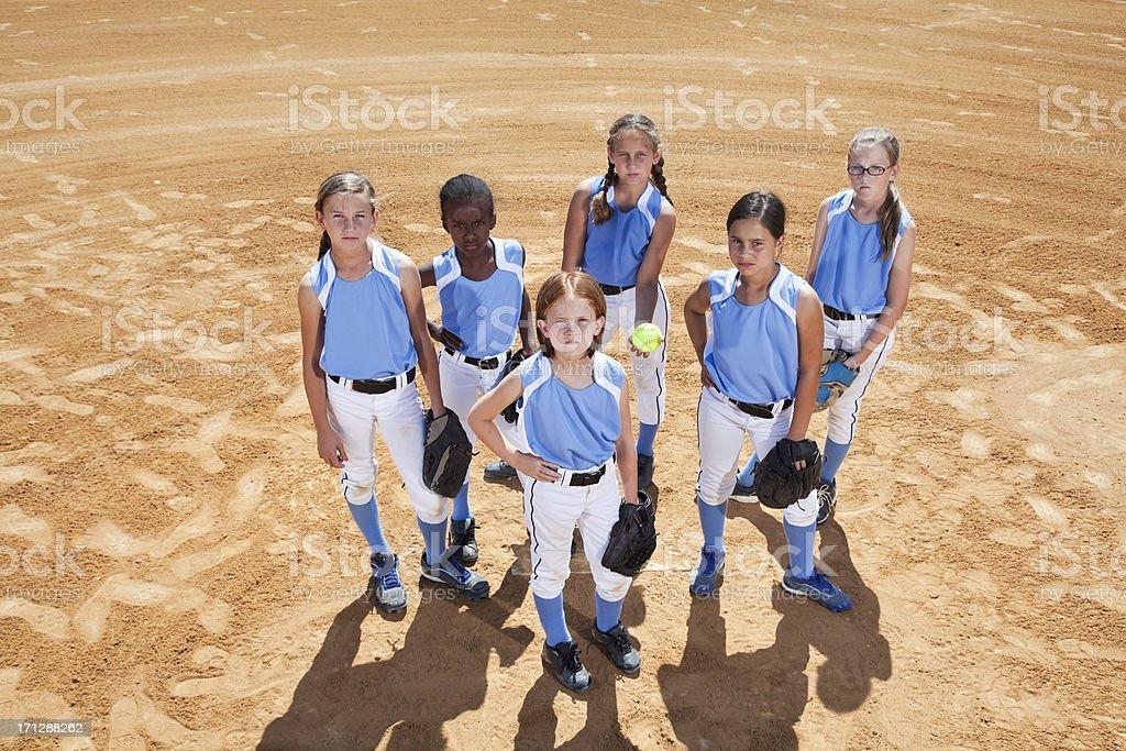 Softball players stock photo