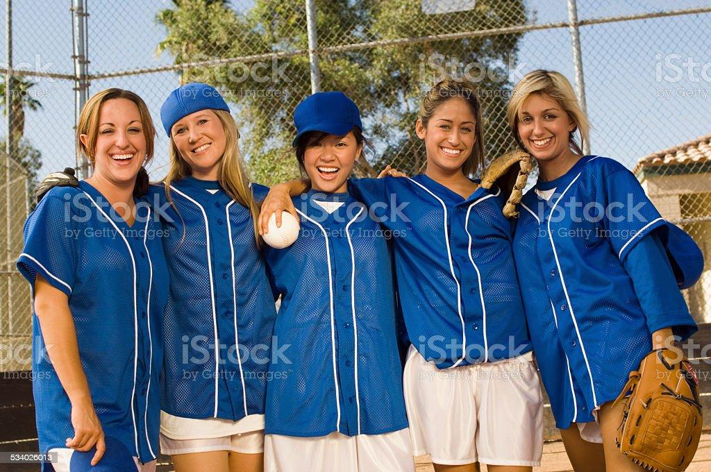 Softball Team Celebrating Victory stock photo