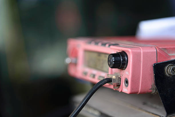 softfocus of  radio station: closeup of an a radio transceiver - ham radio stock photos and pictures