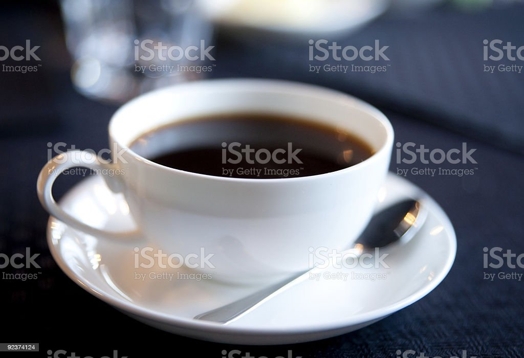 Soft-focused cup of morning coffee royalty-free stock photo