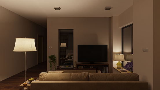 Softly Illuminated Living Room with Furniture at Night