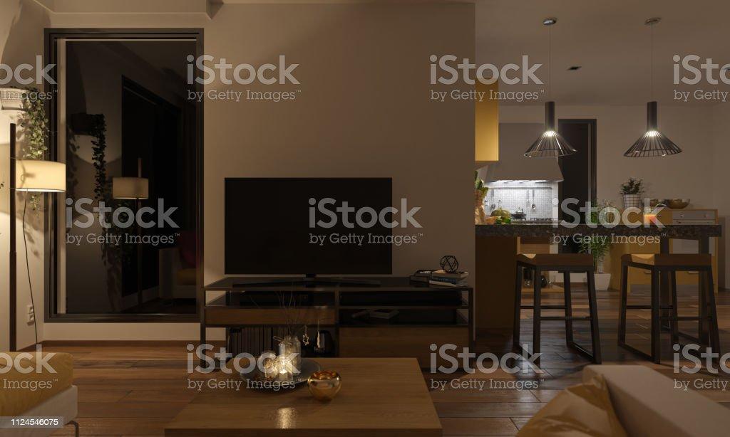 Softly Illuminated Lounge and the Kitchen royalty-free stock photo