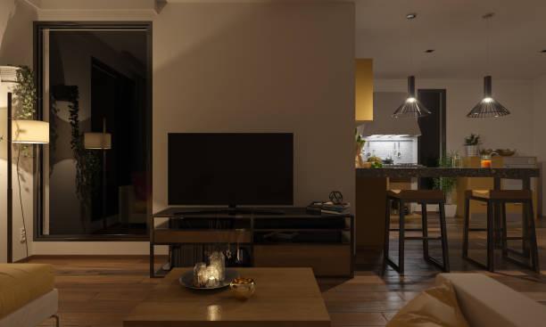 柔和的照明休息室和廚房 - 夜晚 個照片及圖片檔