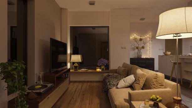 Sanft beleuchtetes Open Plan Wohnzimmer bei Nacht – Foto