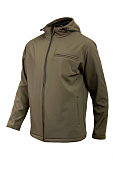 softshell jacket olive color for men isolated