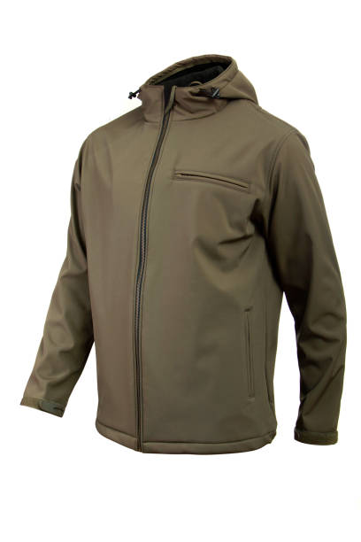 softshell jacket olive color for men isolated - giacca foto e immagini stock