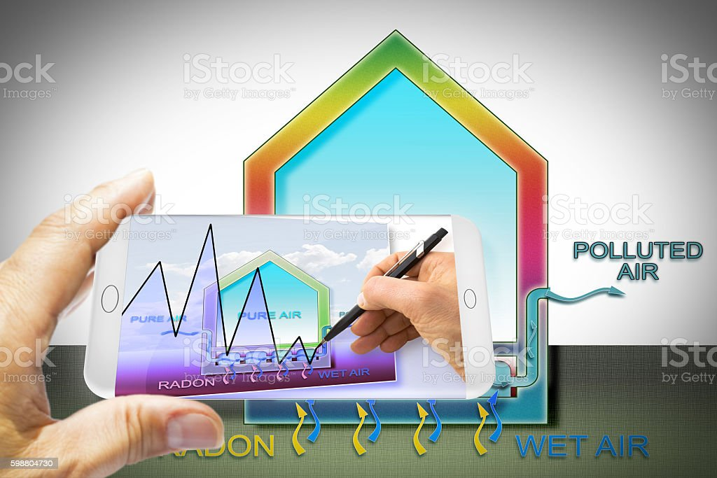 Software app for smart phone for monitoring radioactive gas radon stock photo