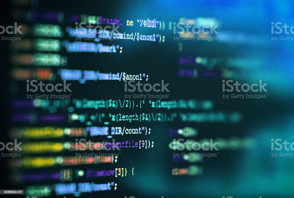 Software computer programming code abstract technology background stock photo