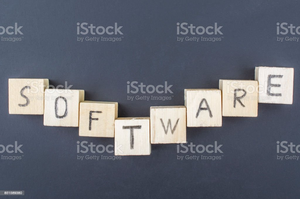 Software concept close-up on blackboard background stock photo