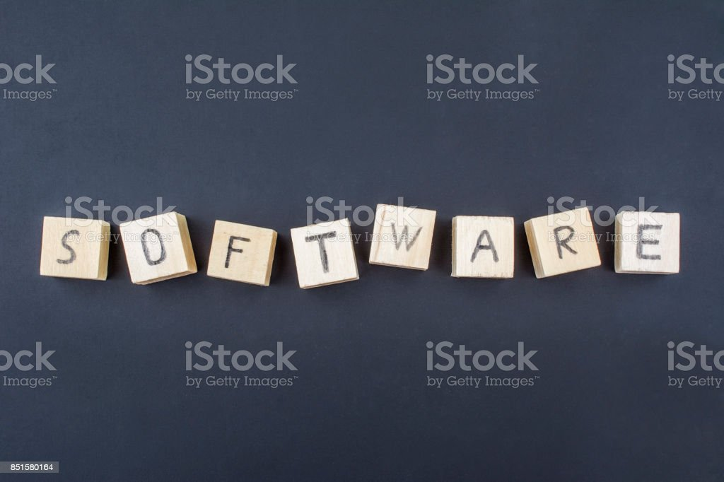 Software concept on a blackboard stock photo