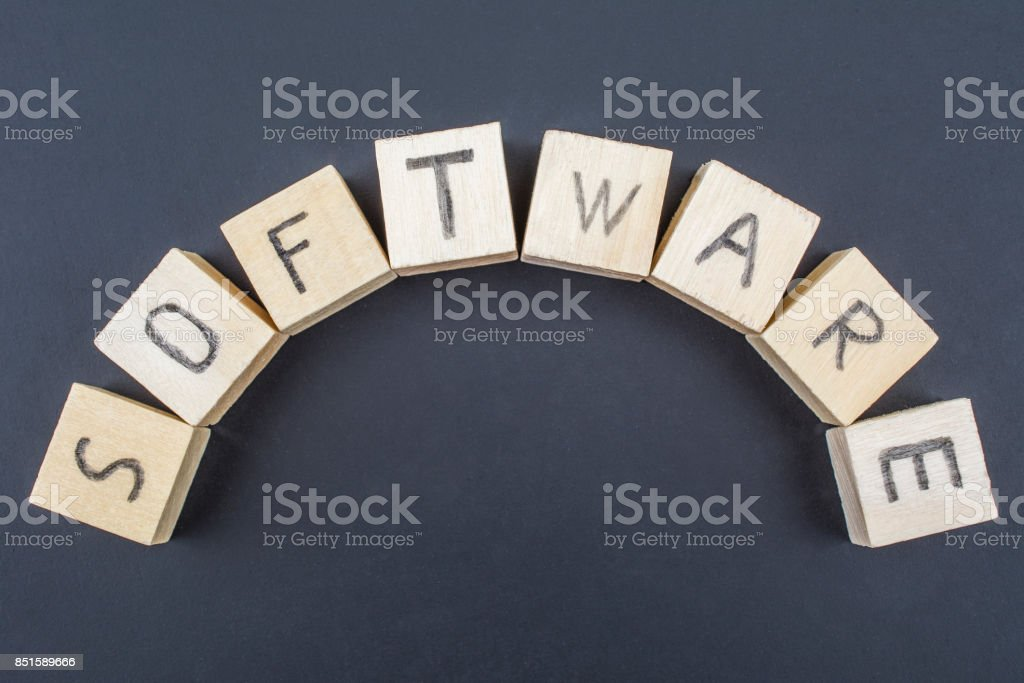 Software concept on blackboard background stock photo
