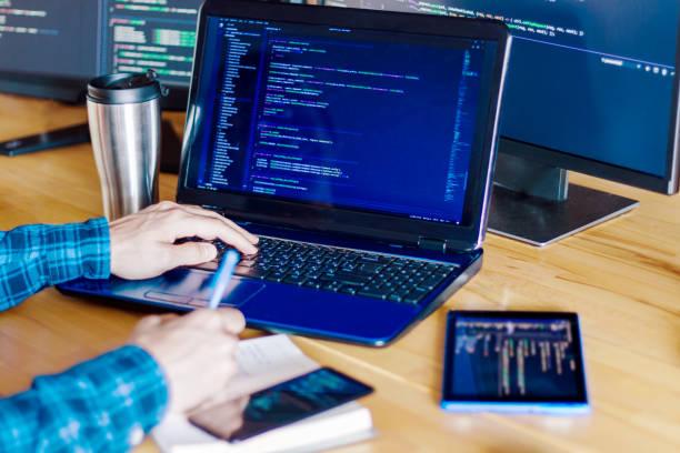 Software developer, freelancer working at home stock photo