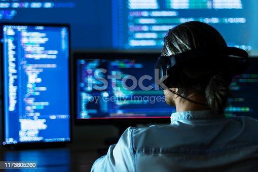 844472230 istock photo Software developer freelancer working at night 1173805260