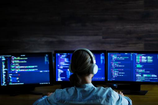 Software Developer Freelancer Working With Program Code Stock Photo - Download Image Now