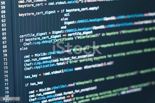 istock Software developer programming code. Abstract computer script 905301122