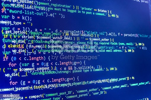 istock Software developer programming code on computer 483083022