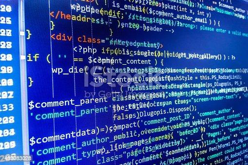 istock Software developer programming code on computer 483083028