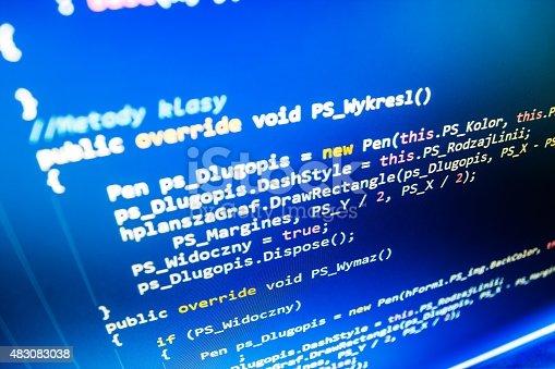 istock Software developer programming code on computer 483083038