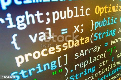 istock Software developer programming code on computer 483083048