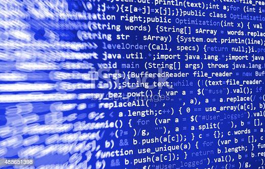 istock Software developer programming code on computer 488651398