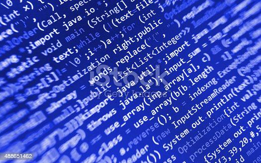 istock Software developer programming code on computer 488651462