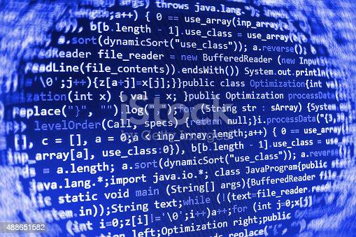 istock Software developer programming code on computer 488651582