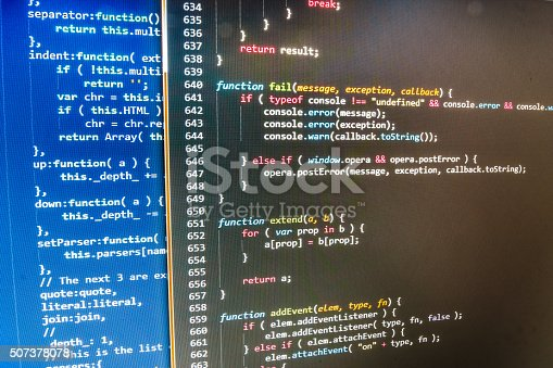 1001827816 istock photo Software developer programming code on computer 507378078