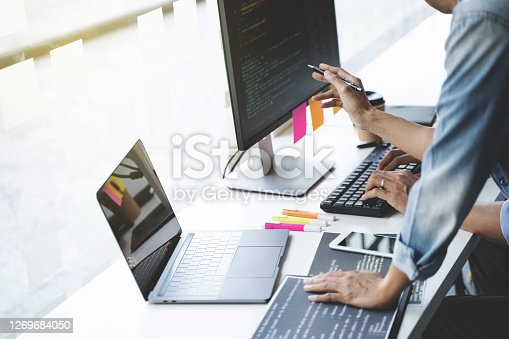 Software developer, Website designing programmer teamwork coding  a project.