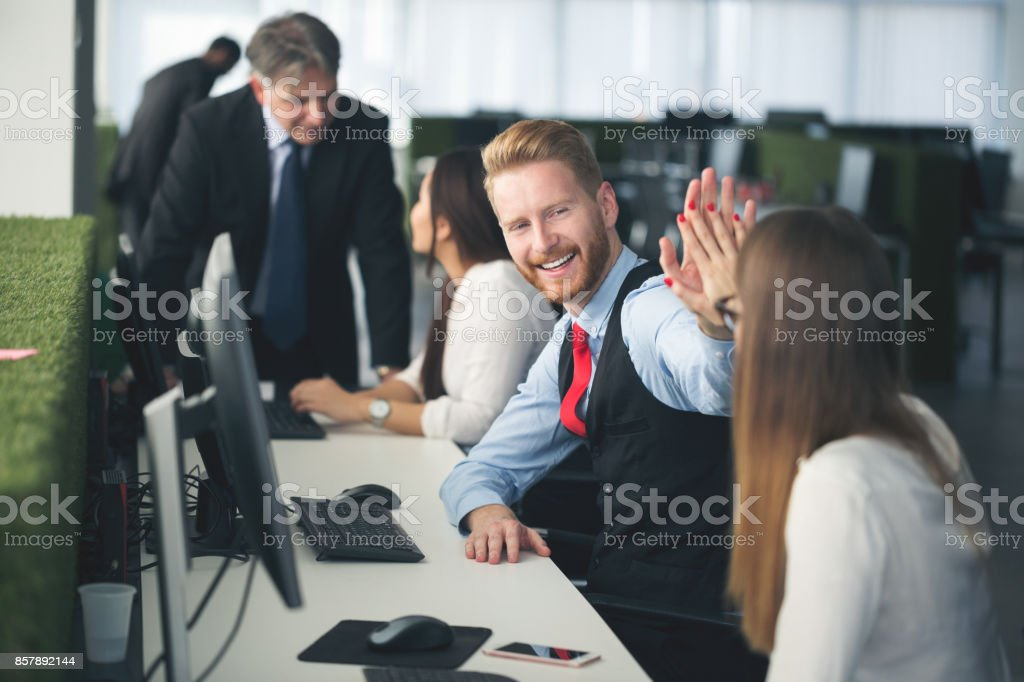 Software developers at work stock photo