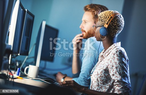 istock Software developers solving a problem. 626230556
