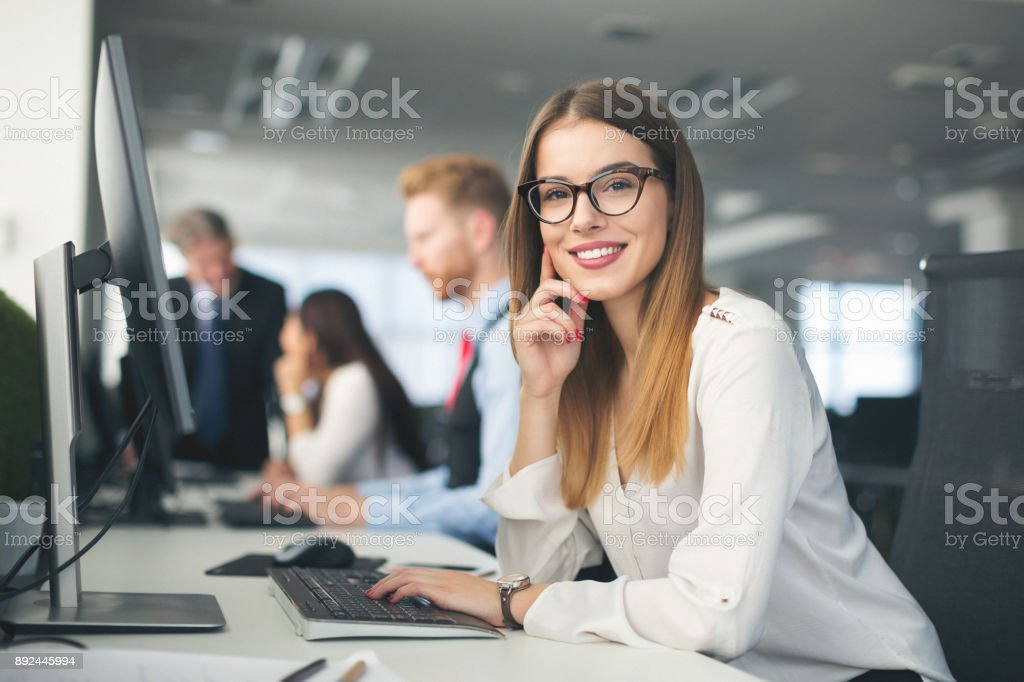 Software developers team at work stock photo