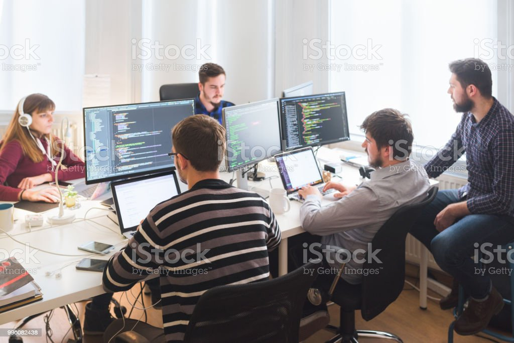 Software developing team working in the office Group of software developers sitting at desktop computers being focused on their work Adult Stock Photo