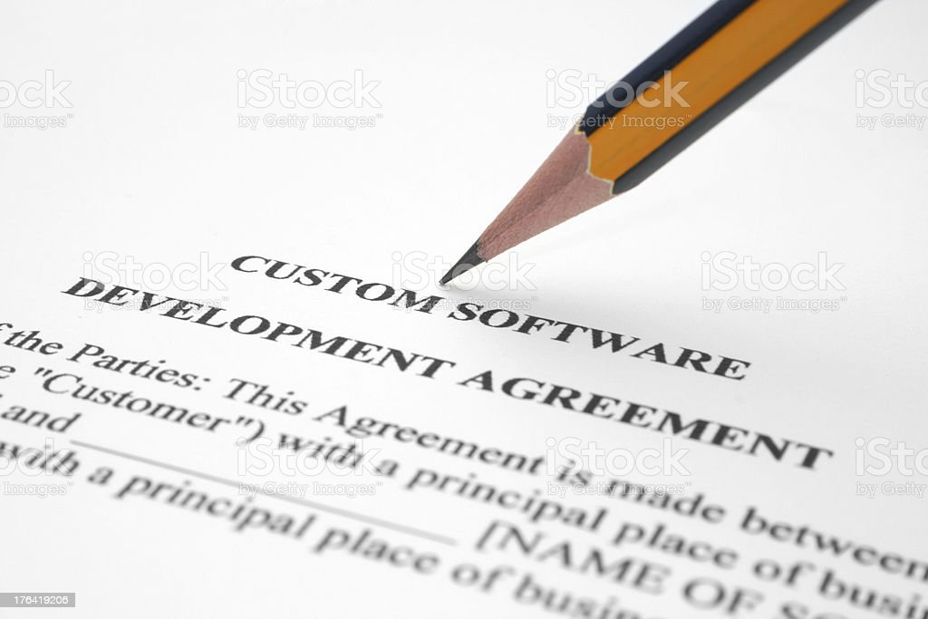 Software development agreement stock photo