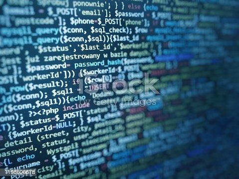 Software development by programmer. Abstract computer script code. Programming code screen of software developer