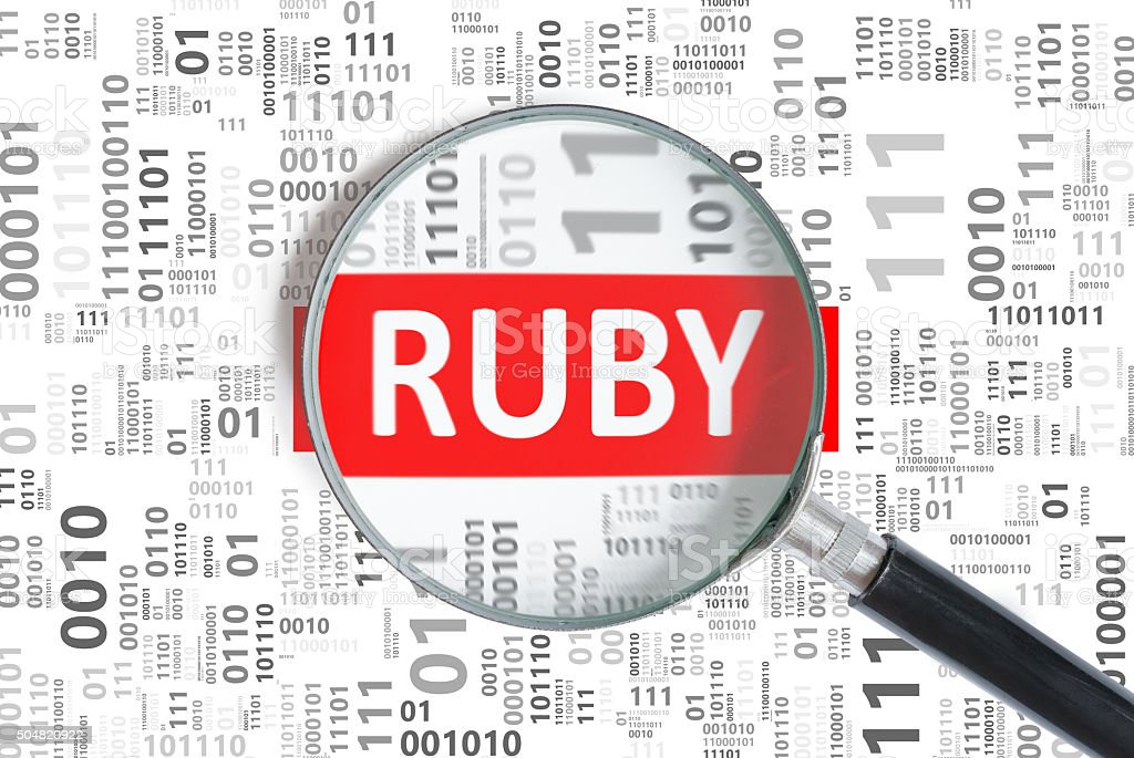 Wonderful Software Development Concept. Ruby Programming Language Inside Magnifier  Royalty Free Stock Photo