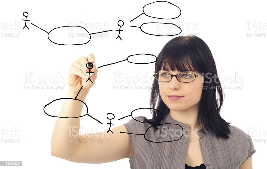 software engineer drawing a UML use case diagram stock photo