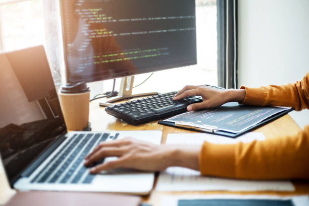 Software engineers programmer development coding a solution data. stock photo