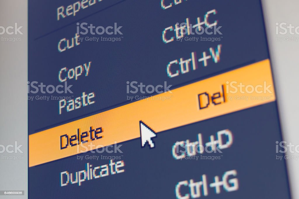 Software menu item with delete command stock photo
