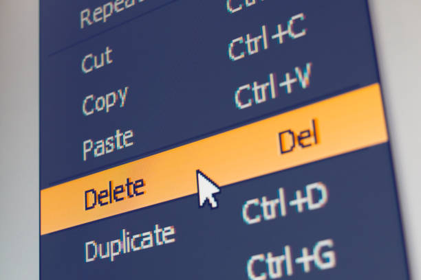software menu item with delete command - delete key stock photos and pictures