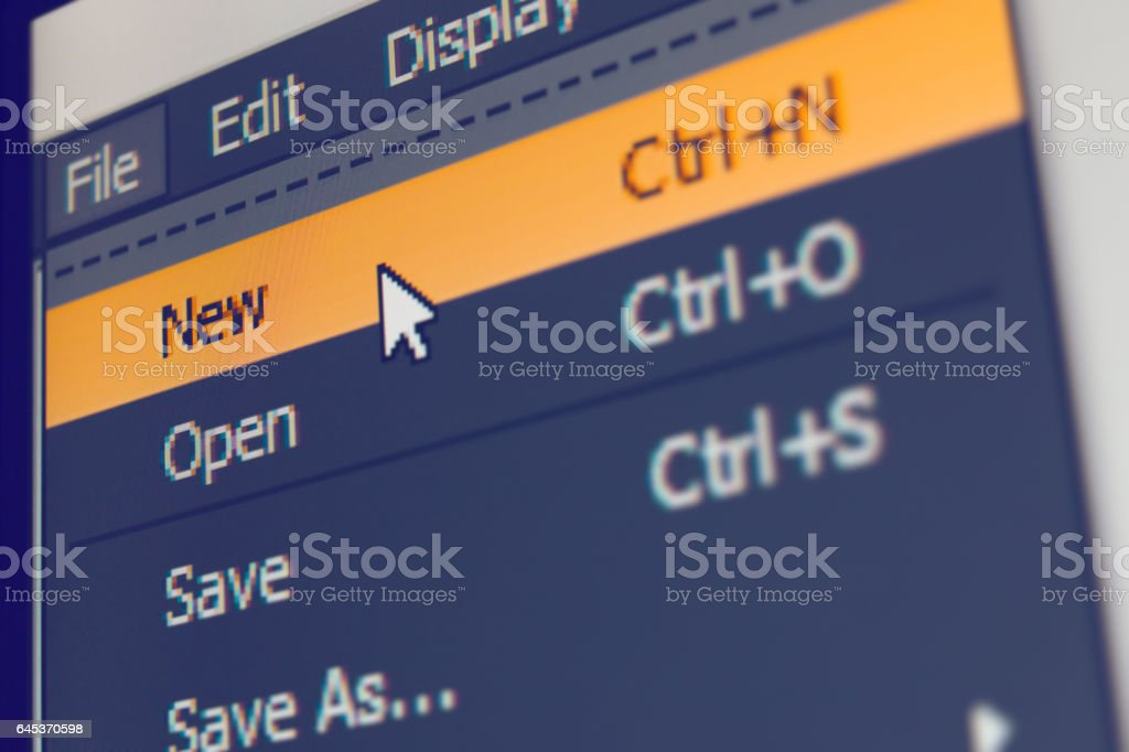 Software menu item with file-new command stock photo