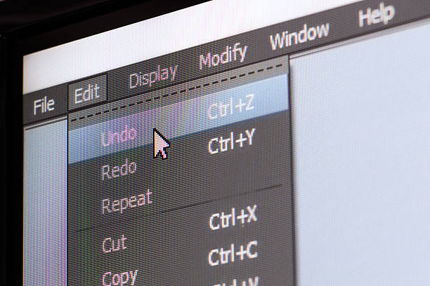 Software menu with undo command stock photo